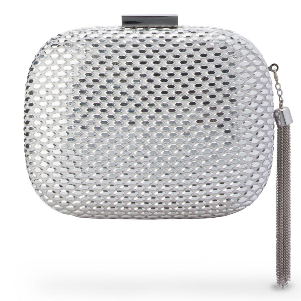 ELLIANA Textured Hotfix Clutch-Silver